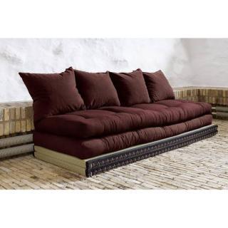 Banquette convertible tatami CHICO matelas futon marron couchage 2 x 70*200cm