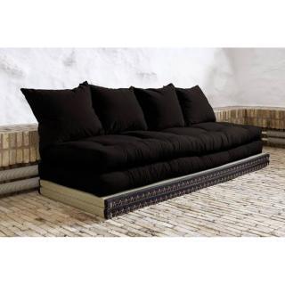 Banquette convertible tatami CHICO matelas futon noir couchage 2 x 70*200cm