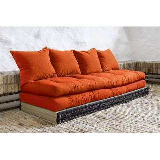 Banquette convertible tatami CHICO matelas futon orange couchage 2 x 70*200cm