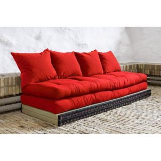 Banquette convertible tatami CHICO matelas futon rouge couchage 2 x 70*200cm
