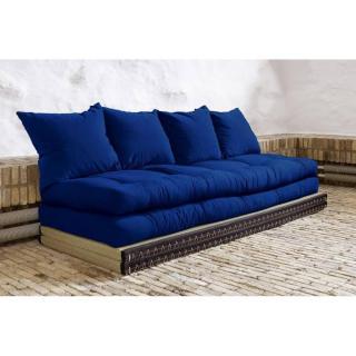 Banquette convertible tatami CHICO matelas futon bleu royal couchage 2 x 70*200cm