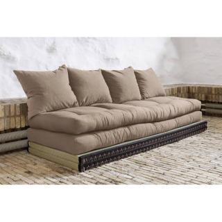 Banquette convertible tatami CHICO matelas futon taupe couchage 2 x 70*200cm