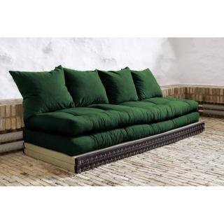 Banquette convertible tatami CHICO matelas futon vert couchage 2 x 70*200cm