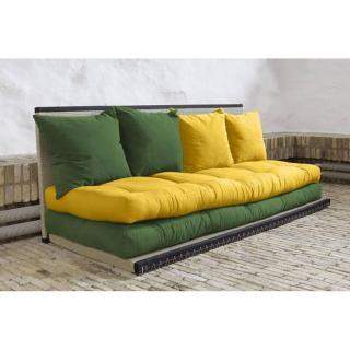 Banquette convertible tatami CHICO matelas futon vert/jaune couchage 2 x 70*200cm