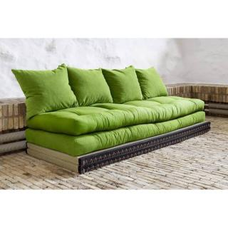 Banquette convertible tatami CHICO matelas futon vert lime couchage 2 x 70*200cm