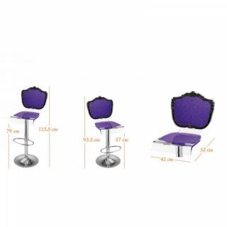 tabouret de bar design tendance retro au meilleur prix tabouret chaise de bar baroque violet. Black Bedroom Furniture Sets. Home Design Ideas