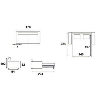 Canapé lit compact BASTILLE convertible EXPRESS 140 cm sommier lattes matelas 18cm