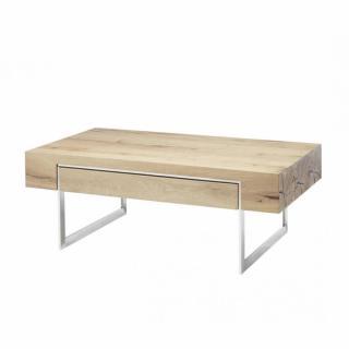 Table basse BATEO 110 X 60 cm plateau chêne huilé 1 tiroir