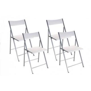 BELFORT Lot de 4 chaises pliantes blanc