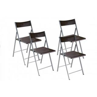 BELFORT Lot de 4 chaises pliantes marron