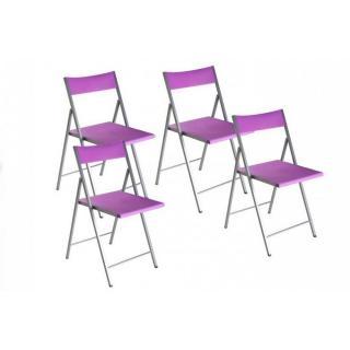 BELFORT Lot de 4 chaises pliantes mauve