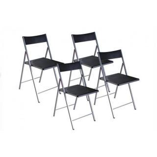 BELFORT Lot de 4 chaises pliantes noir