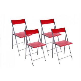 BELFORT Lot de 4 chaises pliantes rouge