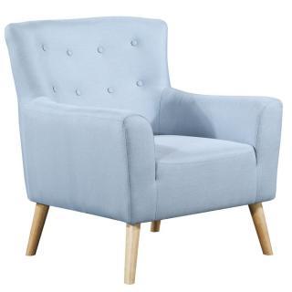 fauteuil fixe design scandinave BELLARIA tissu tweed bleu clair