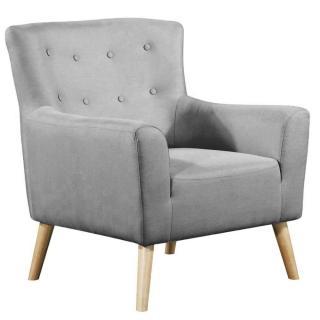 fauteuil fixe design scandinave BELLARIA tissu tweed gris graphite