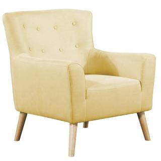 fauteuil fixe design scandinave BELLARIA tissu tweed jaune