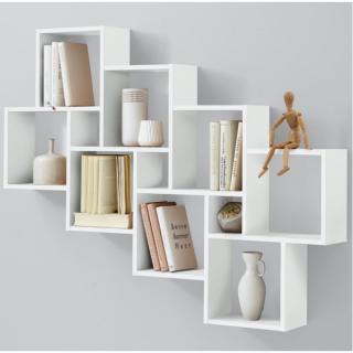 Étagère murale design LOU coloris blanc 8 casiers