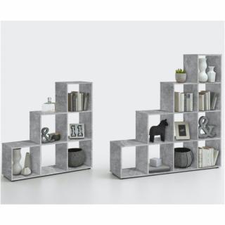 Bibliothèque design en escalier MONTPELLIER gris béton 2 plateaux fixes 6 casiers