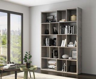 Bibliothèque design RUBY gris béton largeur 150 cm