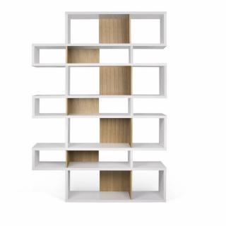 LONDON bibliothèque design 7 niveaux blanche avec fonds chêne