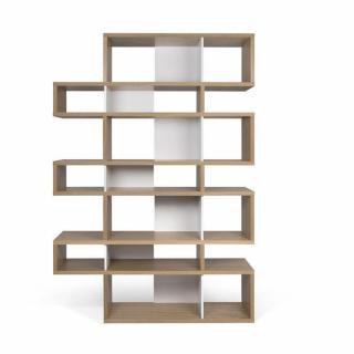LONDON bibliothèque design 7 niveaux chêne avec fonds blancs