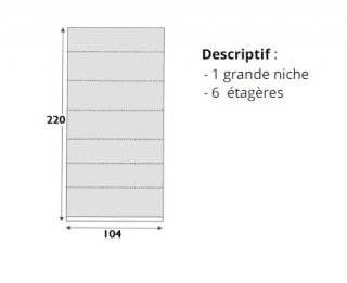 Bibliothèque 6 étagères en bois 47 cm de profondeur