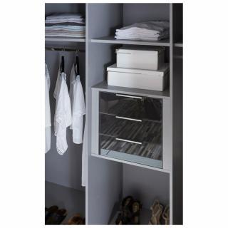 Bloc 3 tiroirs intérieurs largeur 48 cm façades verre gris