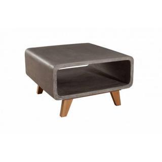 Bout de canapé carré NINO en chêne et béton style industriel
