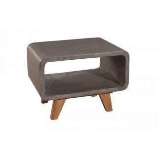 Bout de canapé rectangulaire NINO en chêne et béton style industriel