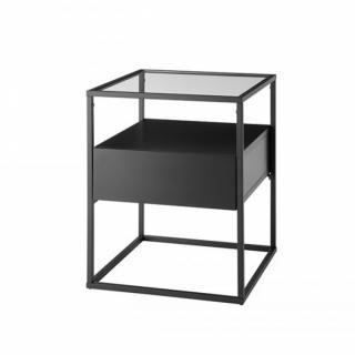 Bout de canapé design  EDMONTON noir pietement acier époxy