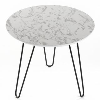 Bout de canapé ELEGANCIA plateau marbre blanc pied eiffel metal noir