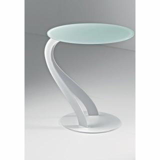 Bout de canapé TOM design blanc ovale en verre trempé