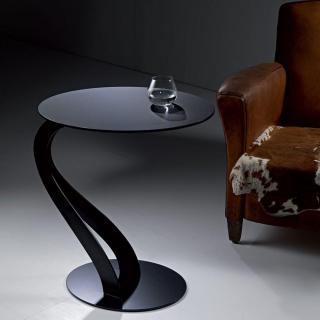 Bout de canapé TOM design noir ovale en verre trempé