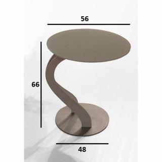 Bout de canapé TOM design taupe ovale en verre trempé