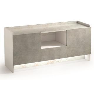 Buffet 2 portes et 1 tiroir MARVEL aspect béton plateau marbre éclairage led intégré