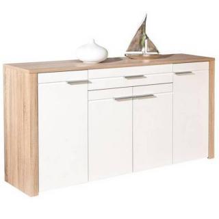 Buffet ABSOLUTO chêne blanc de sonoma et blanc 4 portes 1 tiroir