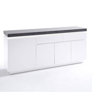 Buffet ATLANTIS laqué blanc mat et béton 4 portes 2 tiroirs LED blanc inclus