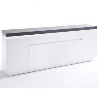 Buffet ATLANTIS CITY 5 portes 2 tiroirs blanc laqué mat avec plateau imitation béton