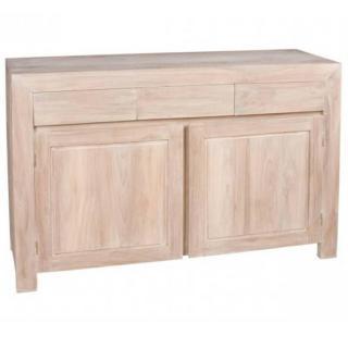 Buffet BALI 2 portes 3 tiroirs en teck blanchi style colonial