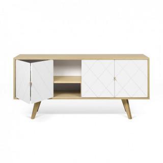 buffets bas meubles et rangements brigitte buffet bas style scandinave 4 portes ch ne et blanc. Black Bedroom Furniture Sets. Home Design Ideas