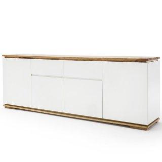 Buffet bas CHARLY blanc mat 4 portes 2 tiroirs plateau et socle chêne massif