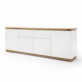 Buffet CHARLY 4 portes 2 tiroirs laqué blanc mat plateau et socle chêne noueux