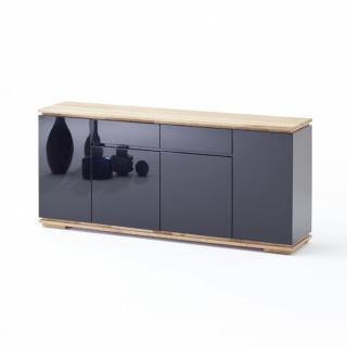Buffet CHARLY 4 portes 2 tiroirs laqué noir brillant plateau et socle chêne noueux
