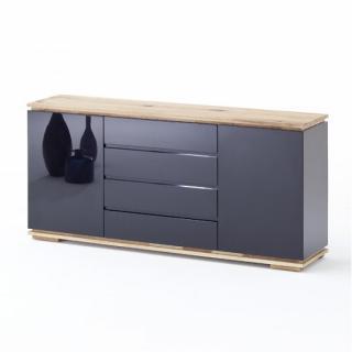 Buffet CHARLY 2 portes 4 tiroirs laqué noir brillant plateau et socle chêne noueux huilé