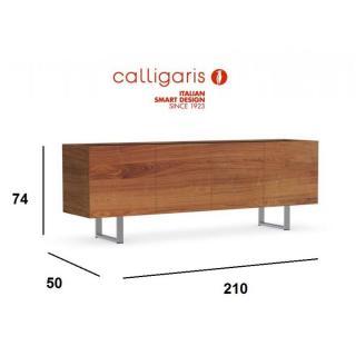 buffets meubles et rangements calligaris buffet bas design horizon noyer plateau verre noir. Black Bedroom Furniture Sets. Home Design Ideas