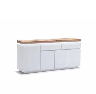 Buffet ROMINA 4 portes 2 tiroirs laqué blanc mat plateau chêne noueux huilé