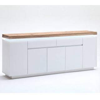 Buffet ROMINA 5 portes 2 tiroirs laqué blanc mat plateau chêne noueux huilé