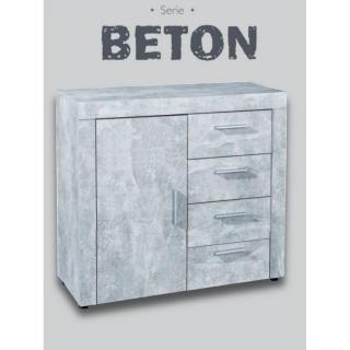 Buffet 1 portes et 4 tiroirs aspect béton
