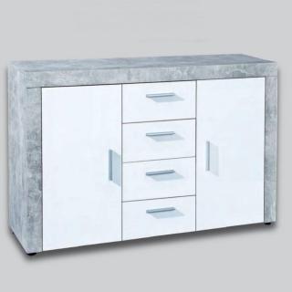 Buffet 2 portes et 4 tiroirs aspect béton et blanc