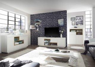Buffet CLEO 169 cm blanc laqué mat  2 portes 3 tiroirs 2 niches décor chêne